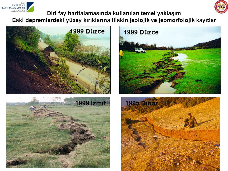 Diri fay haritalamasında kullanılan temel yaklaşım Eski depremlerdeki yüzey kırıklarına ilişkin jeolojik ve jeomorfolojik kayıtlar 1999 Düzce 1995 Din