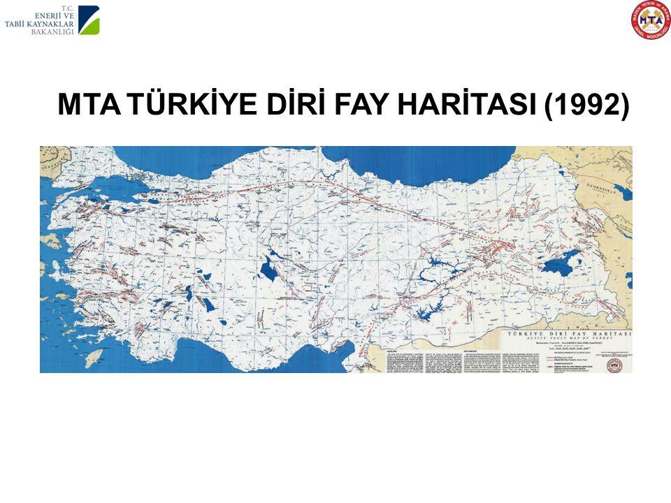 1992 MTA TÜRKİYE DİRİ FAY HARİTASI (1992)