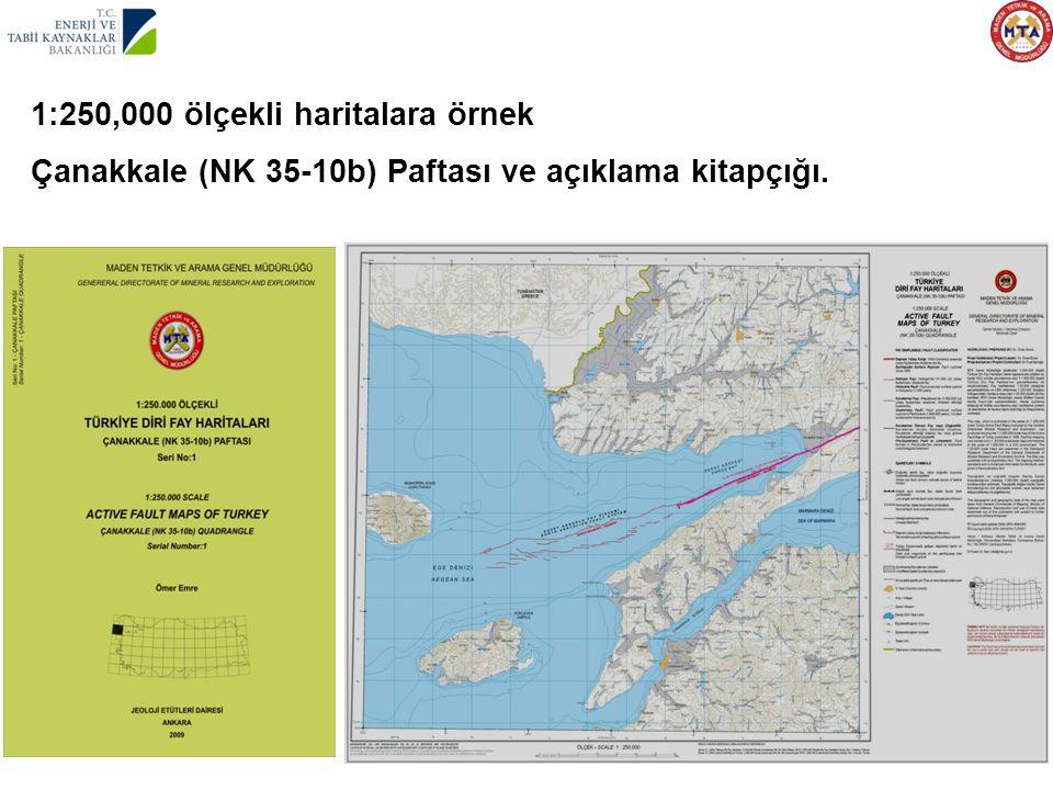 1:250,000 ölçekli haritalara örnek Çanakkale (NK 35-10b) Paftası ve açıklama kitapçığı.