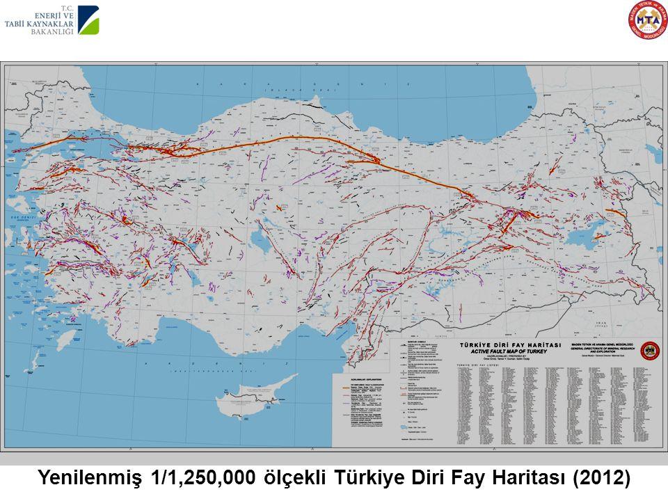 Yenilenmiş 1/1,250,000 ölçekli Türkiye Diri Fay Haritası (2012)
