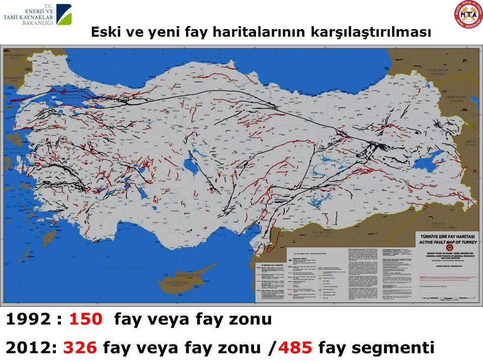 1992 : 150 fay veya fay zonu 2012: 326 fay veya fay zonu /485 fay segmenti Eski ve yeni fay haritalarının karşılaştırılması