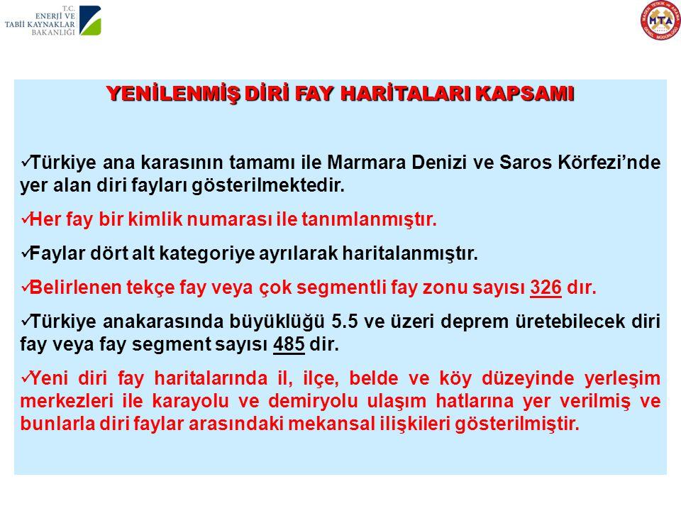 YENİLENMİŞ DİRİ FAY HARİTALARI KAPSAMI  Türkiye ana karasının tamamı ile Marmara Denizi ve Saros Körfezi'nde yer alan diri fayları gösterilmektedir.