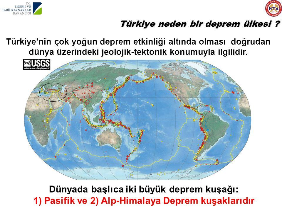Dünyada başlıca iki büyük deprem kuşağı: 1) Pasifik ve 2) Alp-Himalaya Deprem kuşaklarıdır Türkiye'nin çok yoğun deprem etkinliği altında olması doğru
