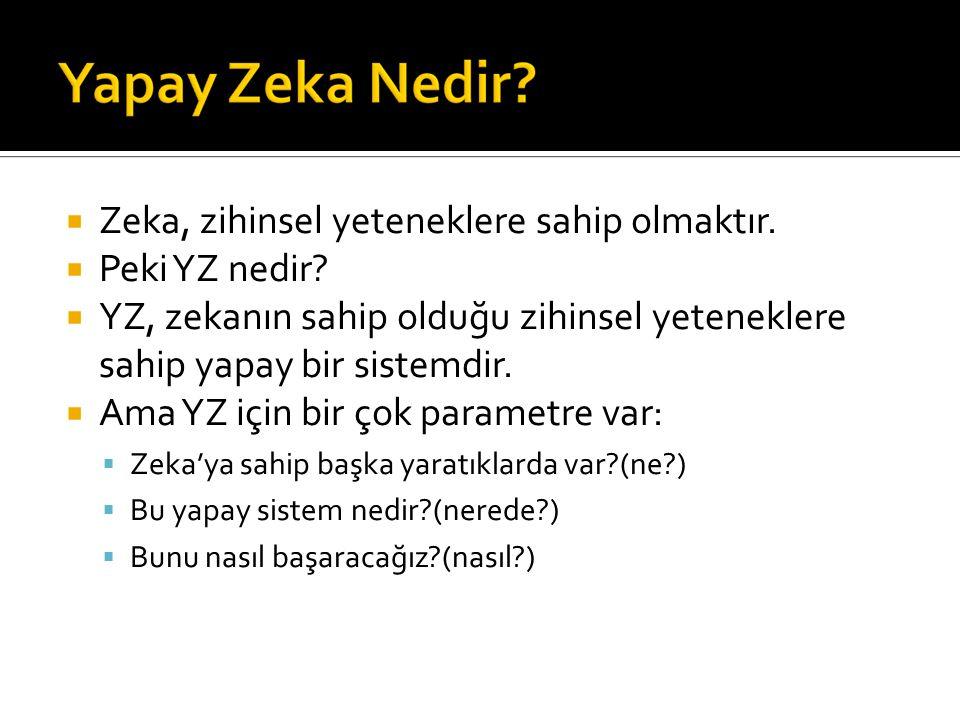  Zeka, zihinsel yeteneklere sahip olmaktır.  Peki YZ nedir.