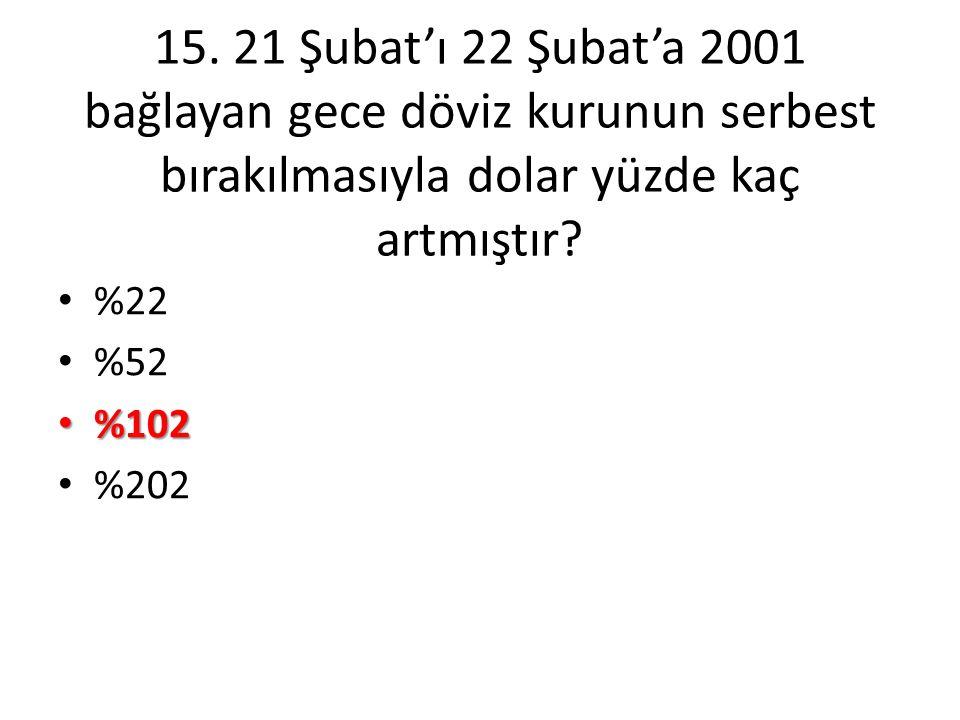 15. 21 Şubat'ı 22 Şubat'a 2001 bağlayan gece döviz kurunun serbest bırakılmasıyla dolar yüzde kaç artmıştır? • %22 • %52 • %102 • %202