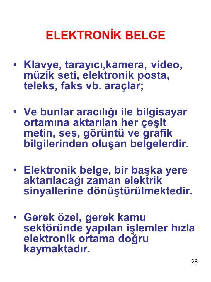 28 ELEKTRONİK BELGE •Klavye, tarayıcı,kamera, video, müzik seti, elektronik posta, teleks, faks vb. araçlar; •Ve bunlar aracılığı ile bilgisayar ortam