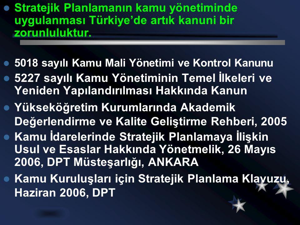  Stratejik Planlamanın kamu yönetiminde uygulanması Türkiye'de artık kanuni bir zorunluluktur.  5018 sayılı Kamu Mali Yönetimi ve Kontrol Kanunu  5