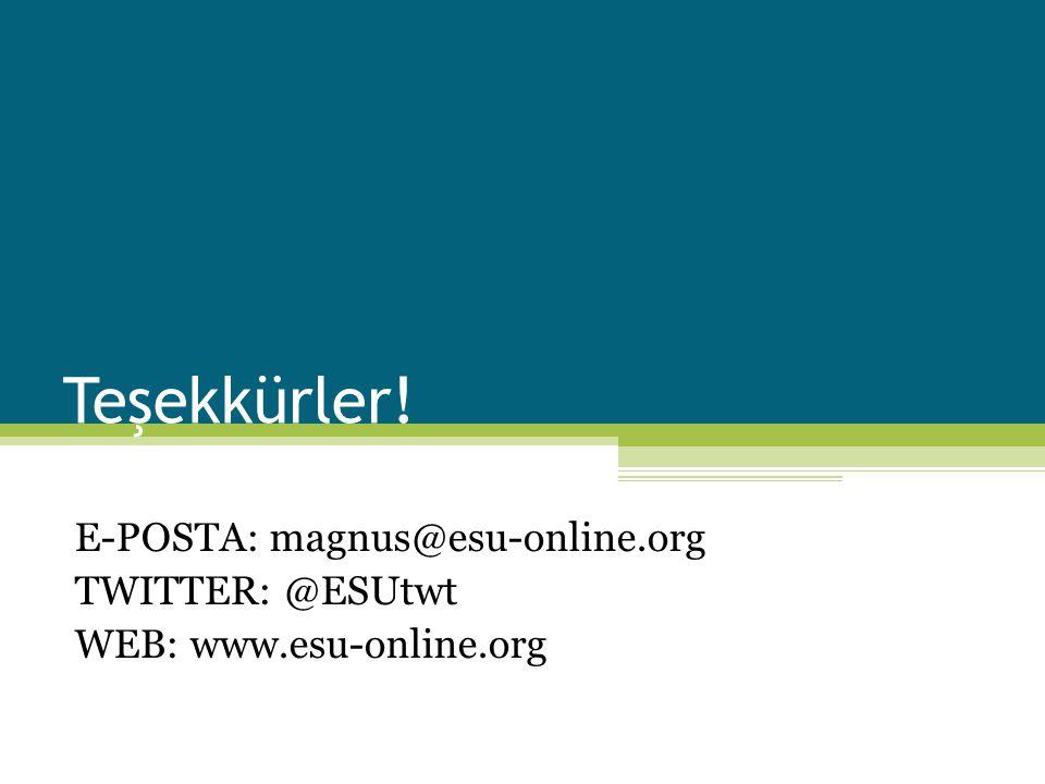 E-POSTA: magnus@esu-online.org TWITTER: @ESUtwt WEB: www.esu-online.org Teşekkürler!
