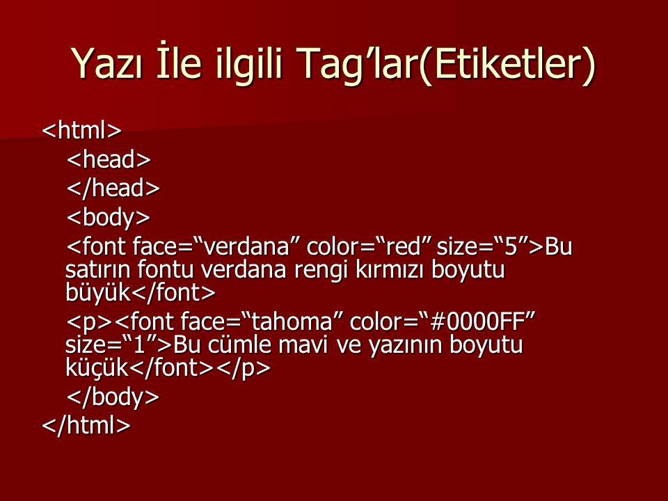 Yazı İle ilgili Tag'lar(Etiketler) <html><head></head><body> Bu satırın fontu verdana rengi kırmızı boyutu büyük Bu satırın fontu verdana rengi kırmız