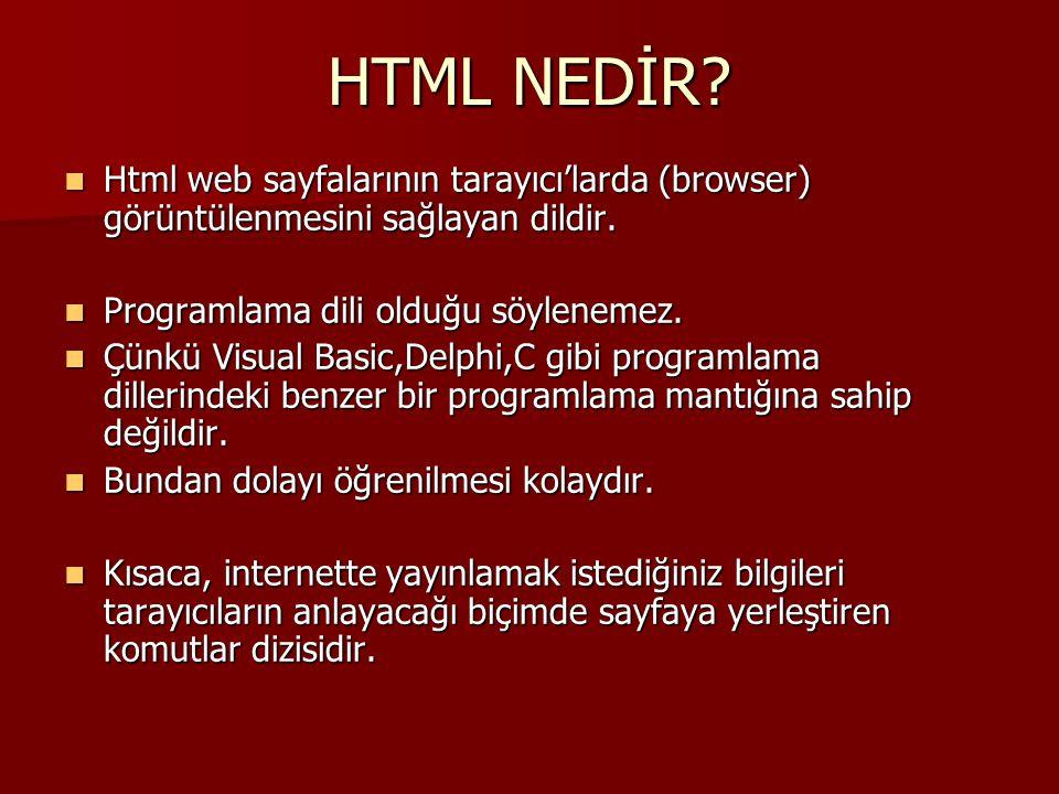 HTML NEDİR?  Html web sayfalarının tarayıcı'larda (browser) görüntülenmesini sağlayan dildir.  Programlama dili olduğu söylenemez.  Çünkü Visual Ba