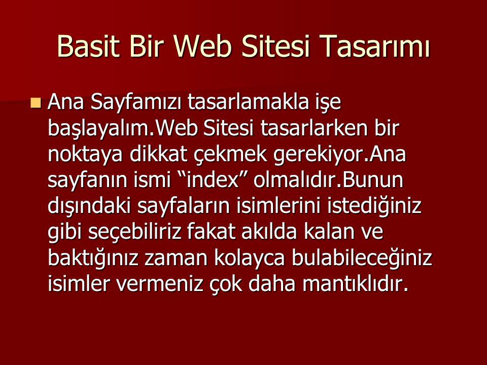 Basit Bir Web Sitesi Tasarımı  Ana Sayfamızı tasarlamakla işe başlayalım.Web Sitesi tasarlarken bir noktaya dikkat çekmek gerekiyor.Ana sayfanın ismi