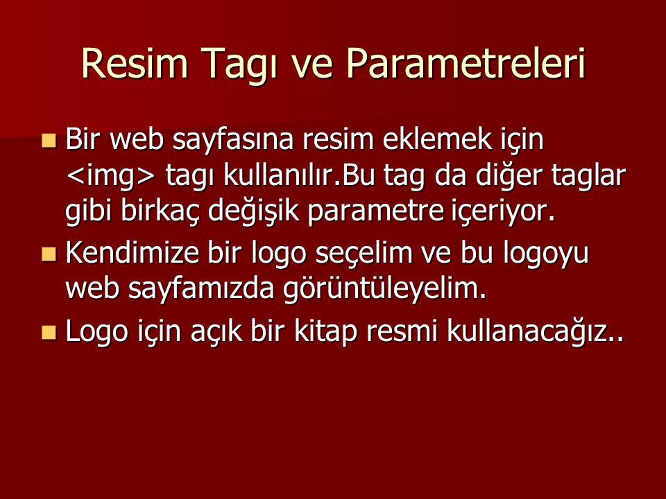 Resim Tagı ve Parametreleri  Bir web sayfasına resim eklemek için tagı kullanılır.Bu tag da diğer taglar gibi birkaç değişik parametre içeriyor.  Ke
