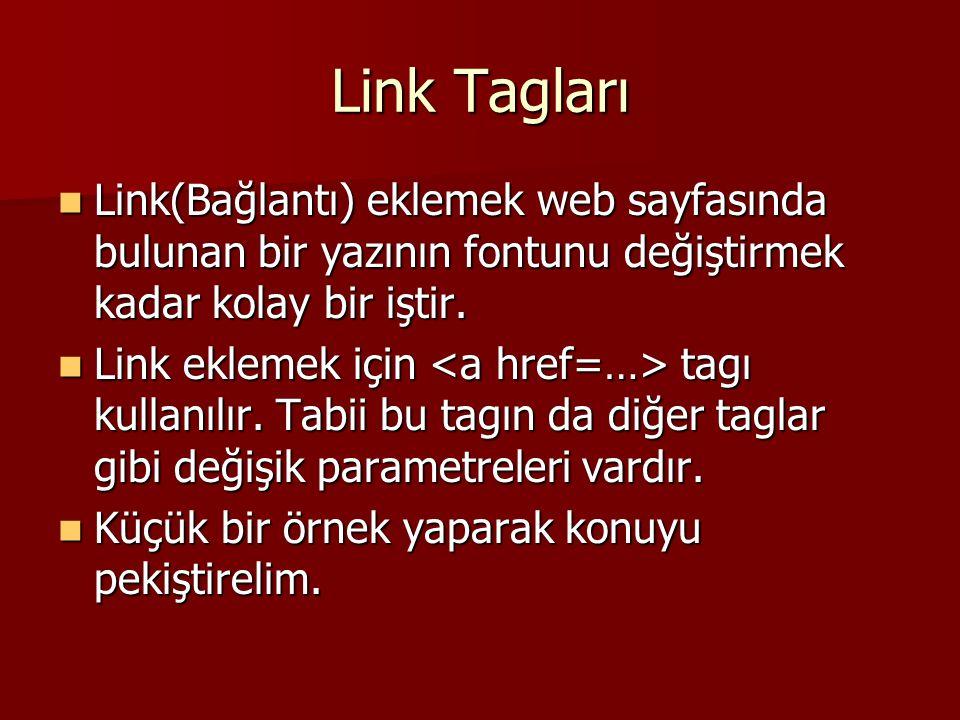 Link Tagları  Link(Bağlantı) eklemek web sayfasında bulunan bir yazının fontunu değiştirmek kadar kolay bir iştir.  Link eklemek için tagı kullanılı