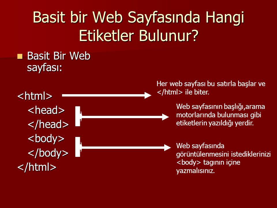 Basit bir Web Sayfasında Hangi Etiketler Bulunur?  Basit Bir Web sayfası: <html><head></head><body></body></html> Her web sayfası bu satırla başlar v
