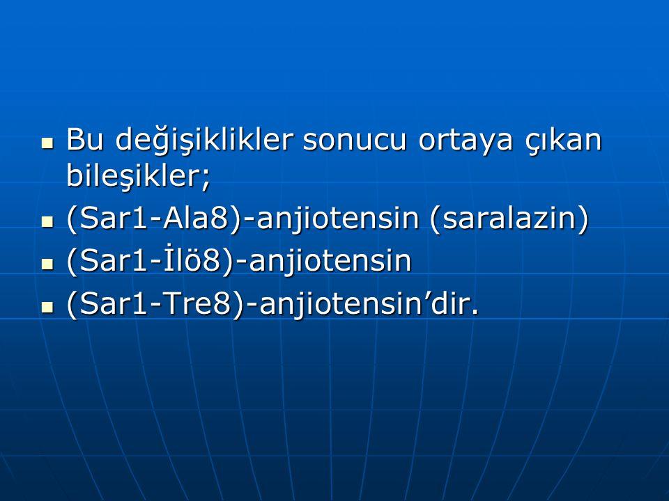  Bu değişiklikler sonucu ortaya çıkan bileşikler;  (Sar1-Ala8)-anjiotensin (saralazin)  (Sar1-İlö8)-anjiotensin  (Sar1-Tre8)-anjiotensin'dir.