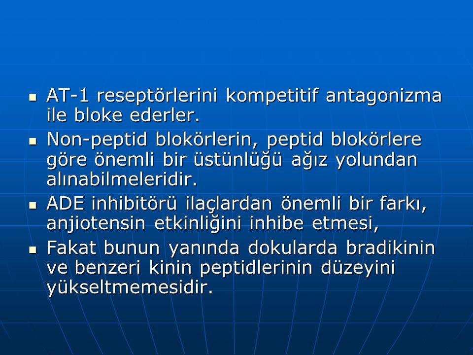 AT-1 reseptörlerini kompetitif antagonizma ile bloke ederler.  Non-peptid blokörlerin, peptid blokörlere göre önemli bir üstünlüğü ağız yolundan al