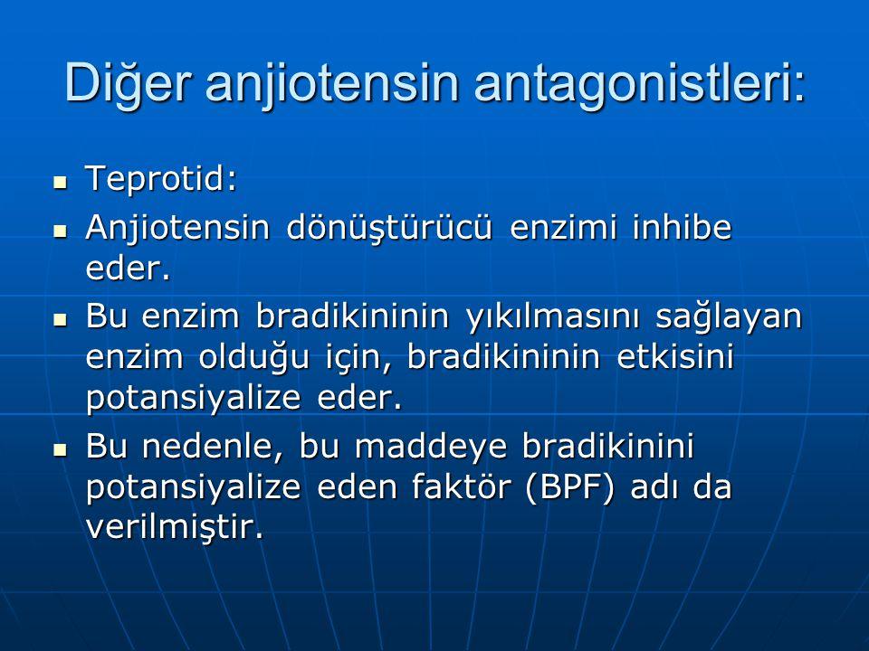 Diğer anjiotensin antagonistleri:  Teprotid:  Anjiotensin dönüştürücü enzimi inhibe eder.  Bu enzim bradikininin yıkılmasını sağlayan enzim olduğu