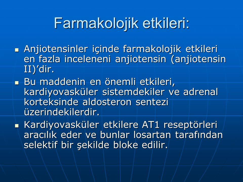 Farmakolojik etkileri:  Anjiotensinler içinde farmakolojik etkileri en fazla inceleneni anjiotensin (anjiotensin II)'dir.  Bu maddenin en önemli etk