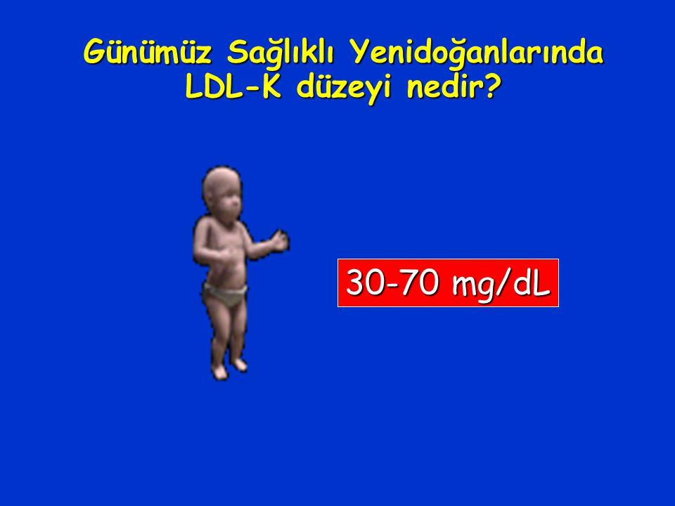 Günümüz Sağlıklı Yenidoğanlarında LDL-K düzeyi nedir? 30-70 mg/dL