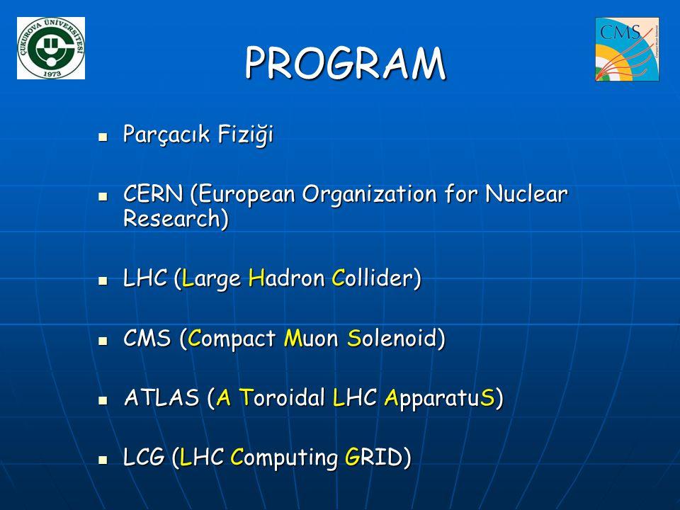 PROGRAM PROGRAM  Parçacık Fiziği  CERN (European Organization for Nuclear Research)  LHC (Large Hadron Collider)  CMS (Compact Muon Solenoid)  AT