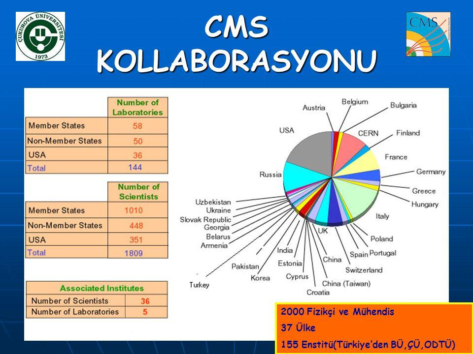 CMS KOLLABORASYONU 2000 Fizikçi ve Mühendis 37 Ülke 155 Enstitü(Türkiye'den BÜ,ÇÜ,ODTÜ)