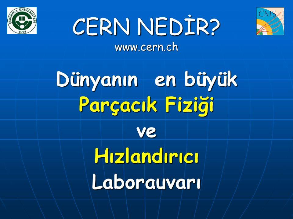 CERN NEDİR? www.cern.ch Dünyanın en büyük Parçacık Fiziği veHızlandırıcıLaborauvarı