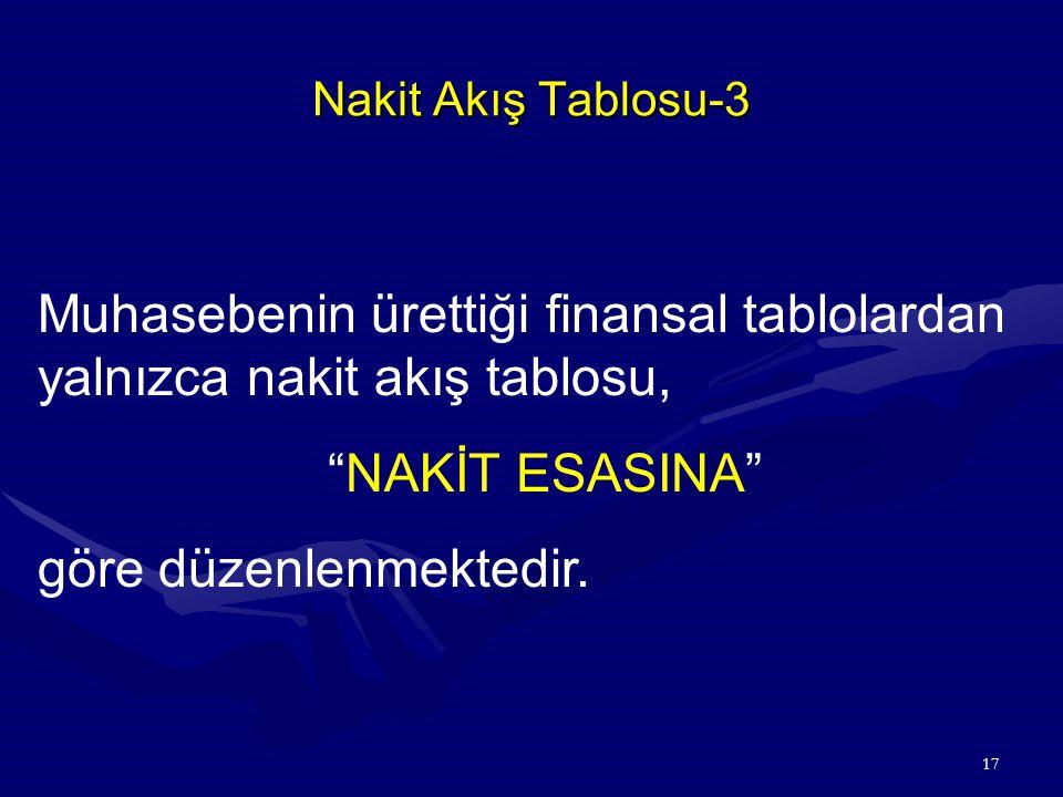 17 Nakit Akış Tablosu-3 Muhasebenin ürettiği finansal tablolardan yalnızca nakit akış tablosu, NAKİT ESASINA göre düzenlenmektedir.