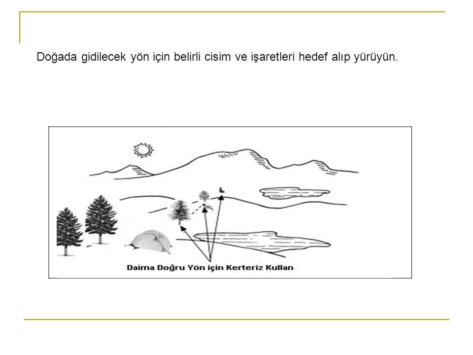 Doğada gidilecek yön için belirli cisim ve işaretleri hedef alıp yürüyün.