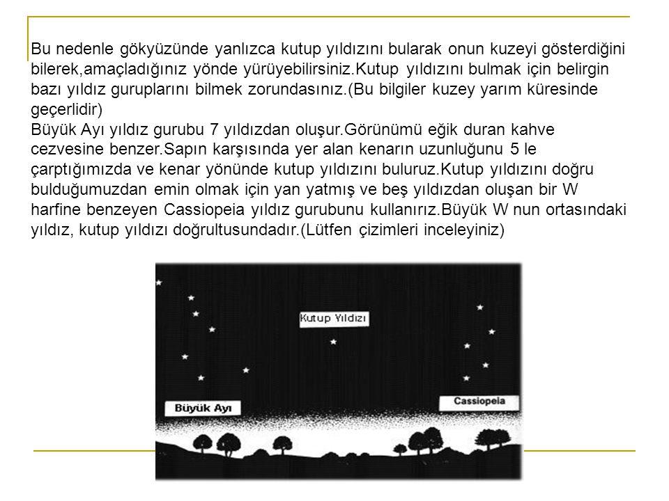 Bu nedenle gökyüzünde yanlızca kutup yıldızını bularak onun kuzeyi gösterdiğini bilerek,amaçladığınız yönde yürüyebilirsiniz.Kutup yıldızını bulmak için belirgin bazı yıldız guruplarını bilmek zorundasınız.(Bu bilgiler kuzey yarım küresinde geçerlidir) Büyük Ayı yıldız gurubu 7 yıldızdan oluşur.Görünümü eğik duran kahve cezvesine benzer.Sapın karşısında yer alan kenarın uzunluğunu 5 le çarptığımızda ve kenar yönünde kutup yıldızını buluruz.Kutup yıldızını doğru bulduğumuzdan emin olmak için yan yatmış ve beş yıldızdan oluşan bir W harfine benzeyen Cassiopeia yıldız gurubunu kullanırız.Büyük W nun ortasındaki yıldız, kutup yıldızı doğrultusundadır.(Lütfen çizimleri inceleyiniz)