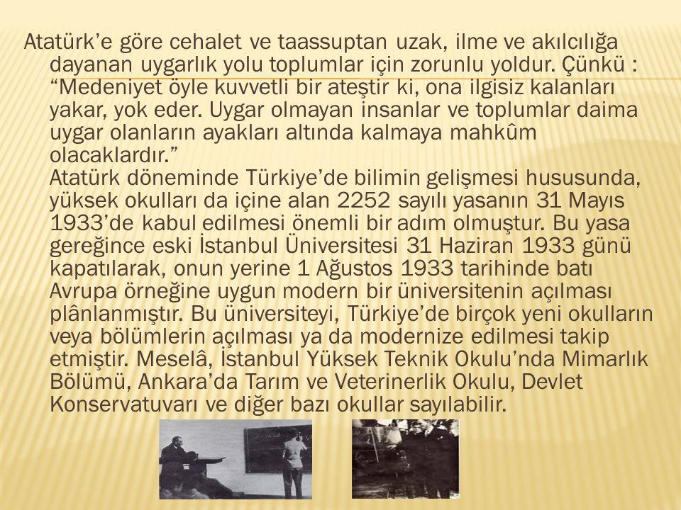 """Atatürk'e göre cehalet ve taassuptan uzak, ilme ve akılcılığa dayanan uygarlık yolu toplumlar için zorunlu yoldur. Çünkü : """"Medeniyet öyle kuvvetli bi"""