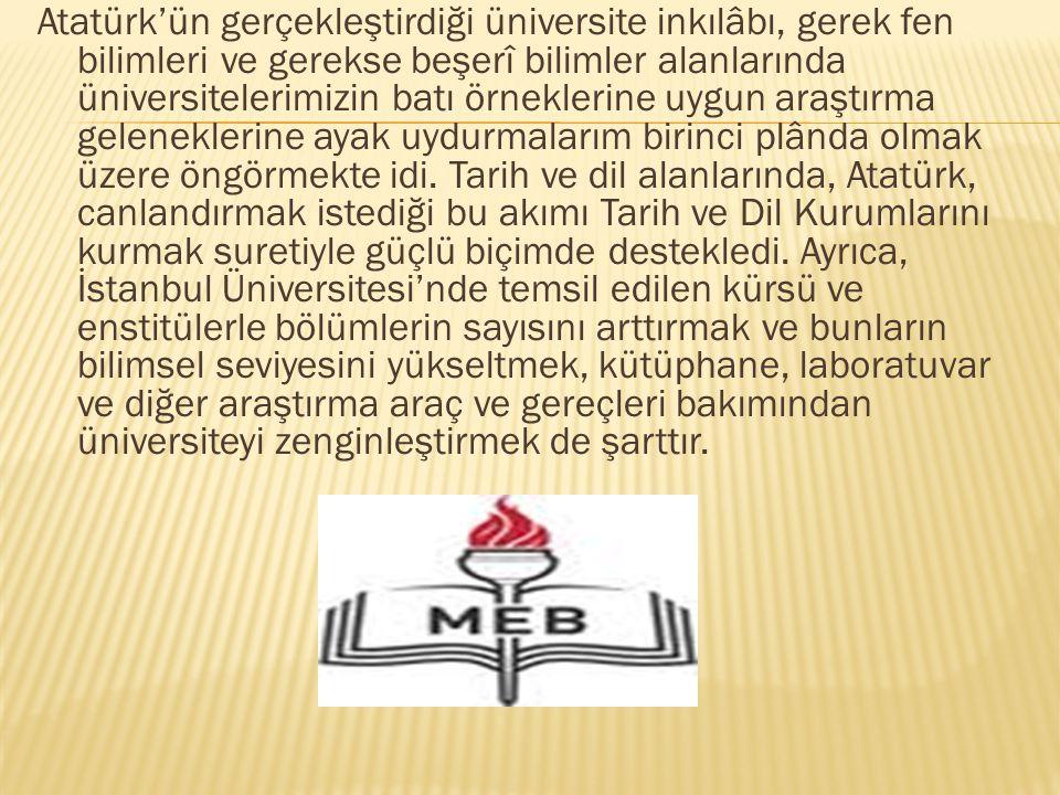 Atatürk'ün gerçekleştirdiği üniversite inkılâbı, gerek fen bilimleri ve gerekse beşerî bilimler alanlarında üniversitelerimizin batı örneklerine uygun