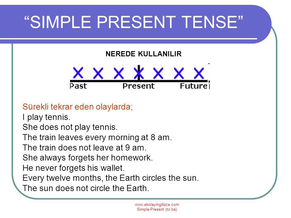 "www.ekolayingilizce.com Simple Present (to be) ""SIMPLE PRESENT TENSE"" NEREDE KULLANILIR Sürekli tekrar eden olaylarda; I play tennis. She does not pla"