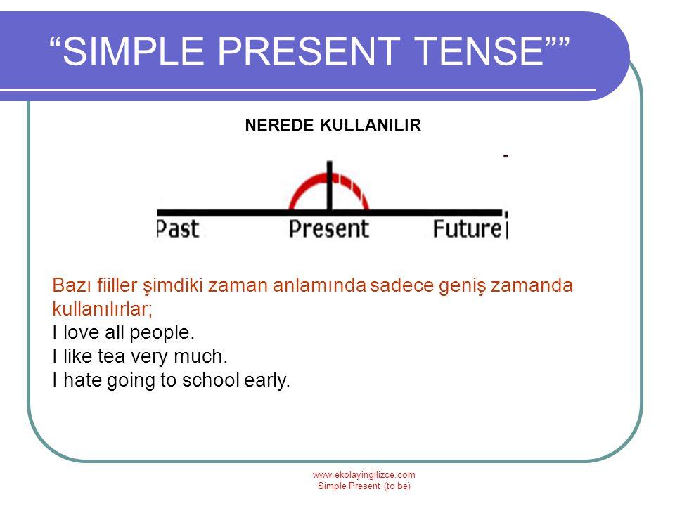 """www.ekolayingilizce.com Simple Present (to be) """"SIMPLE PRESENT TENSE"""""""" NEREDE KULLANILIR Bazı fiiller şimdiki zaman anlamında sadece geniş zamanda kul"""