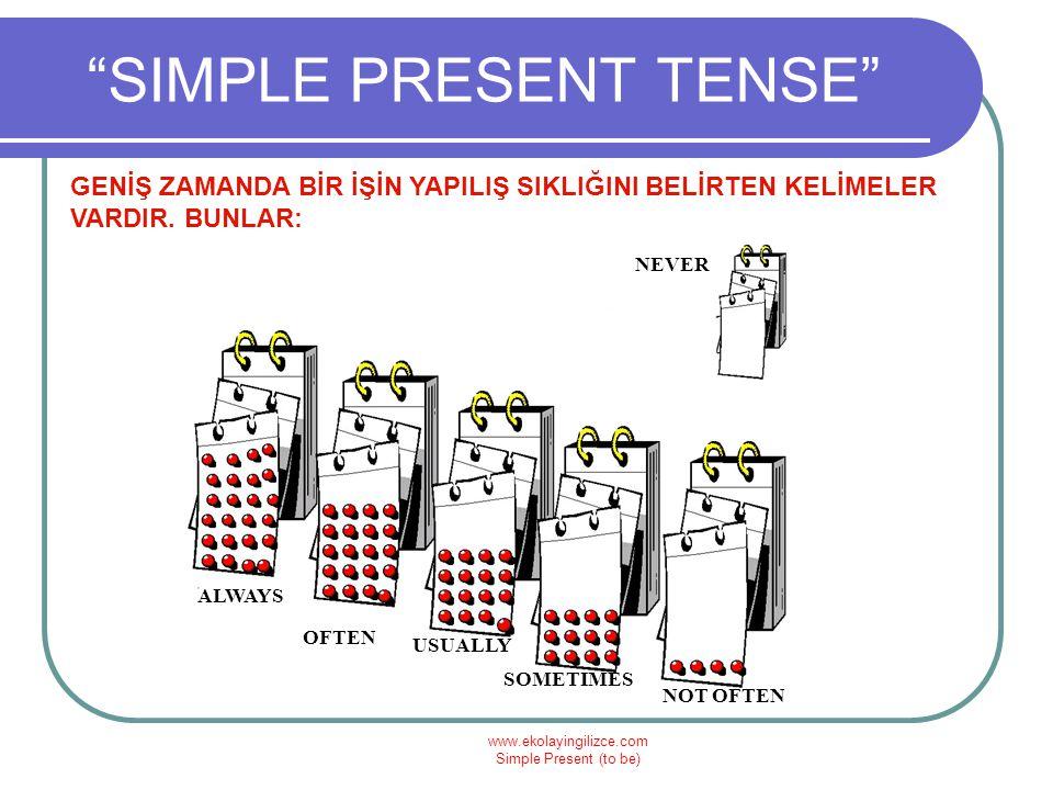 """www.ekolayingilizce.com Simple Present (to be) """"SIMPLE PRESENT TENSE"""" GENİŞ ZAMANDA BİR İŞİN YAPILIŞ SIKLIĞINI BELİRTEN KELİMELER VARDIR. BUNLAR: OFTE"""