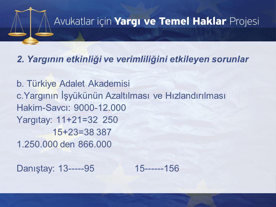 2. Yargının etkinliği ve verimliliğini etkileyen sorunlar b. Türkiye Adalet Akademisi c.Yargının İşyükünün Azaltılması ve Hızlandırılması Hakim-Savcı: