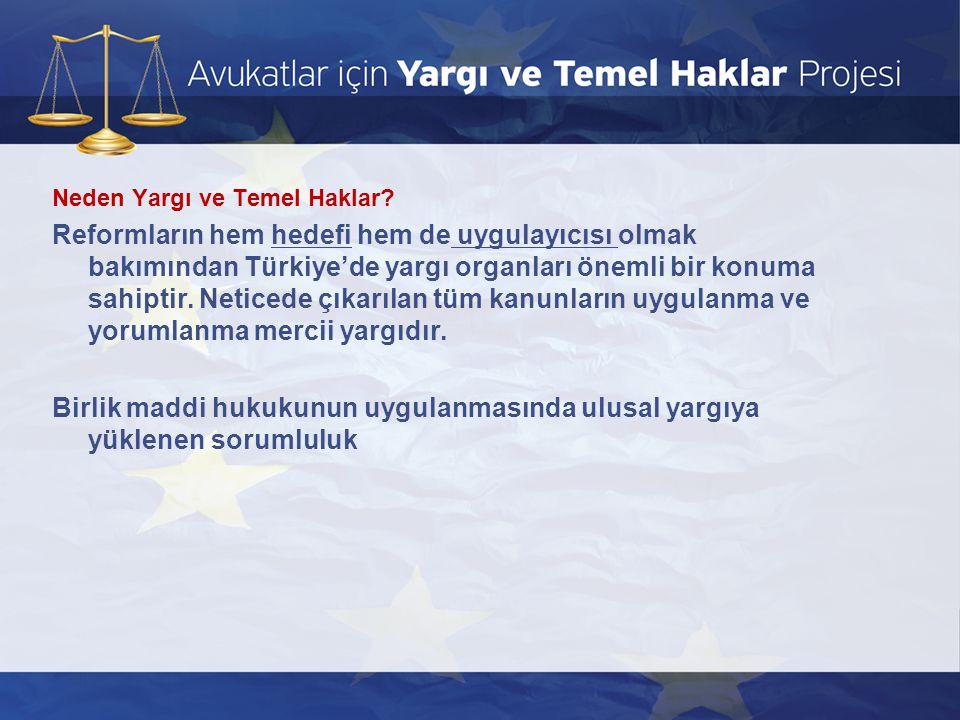 Neden Yargı ve Temel Haklar? Reformların hem hedefi hem de uygulayıcısı olmak bakımından Türkiye'de yargı organları önemli bir konuma sahiptir. Netice