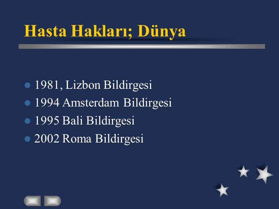 Hasta Hakları; Dünya  1981, Lizbon Bildirgesi  1994 Amsterdam Bildirgesi  1995 Bali Bildirgesi  2002 Roma Bildirgesi