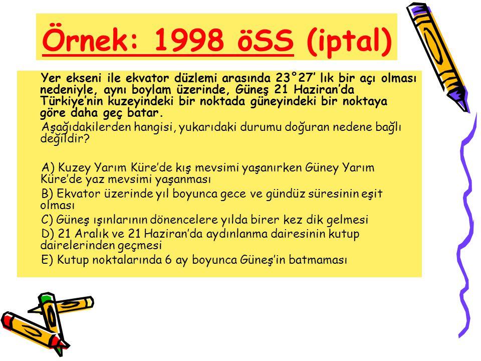 Örnek: 1998 öSS (iptal) Yer ekseni ile ekvator düzlemi arasında 23°27' lık bir açı olması nedeniyle, aynı boylam üzerinde, Güneş 21 Haziran'da Türkiye