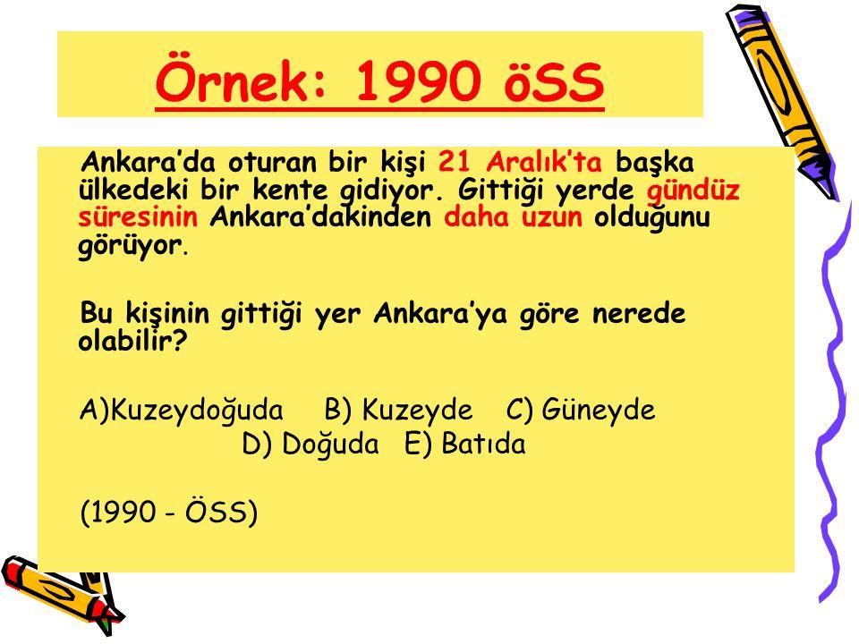 Örnek: 1990 öSS Ankara'da oturan bir kişi 21 Aralık'ta başka ülkedeki bir kente gidiyor. Gittiği yerde gündüz süresinin Ankara'dakinden daha uzun oldu