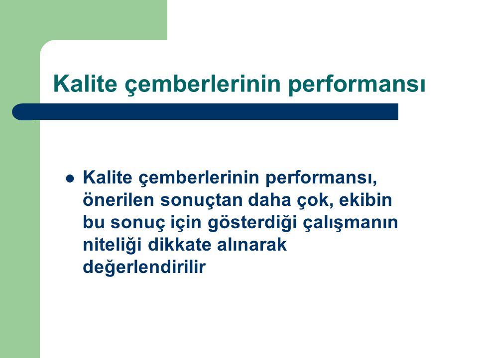 Kalite çemberlerinin performansı  Kalite çemberlerinin performansı, önerilen sonuçtan daha çok, ekibin bu sonuç için gösterdiği çalışmanın niteliği d