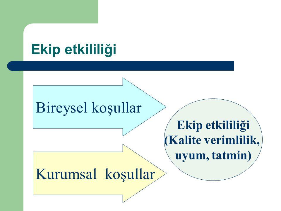 Ekip etkililiği Bireysel koşullar Kurumsal koşullar Ekip etkililiği (Kalite verimlilik, uyum, tatmin)