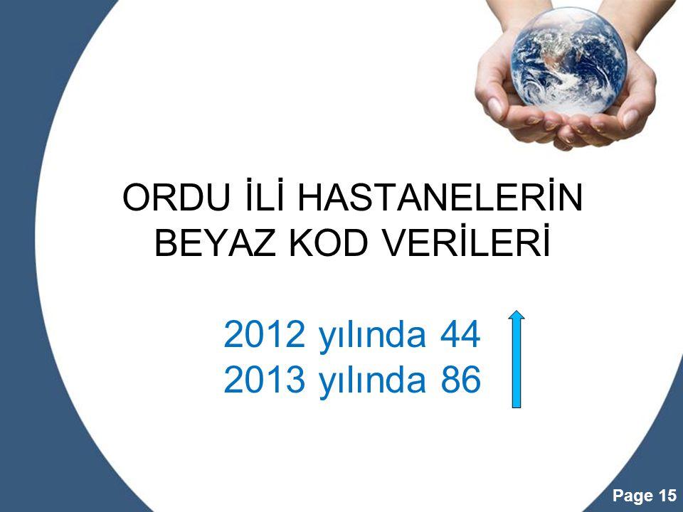 Powerpoint Templates Page 15 ORDU İLİ HASTANELERİN BEYAZ KOD VERİLERİ 2012 yılında 44 2013 yılında 86