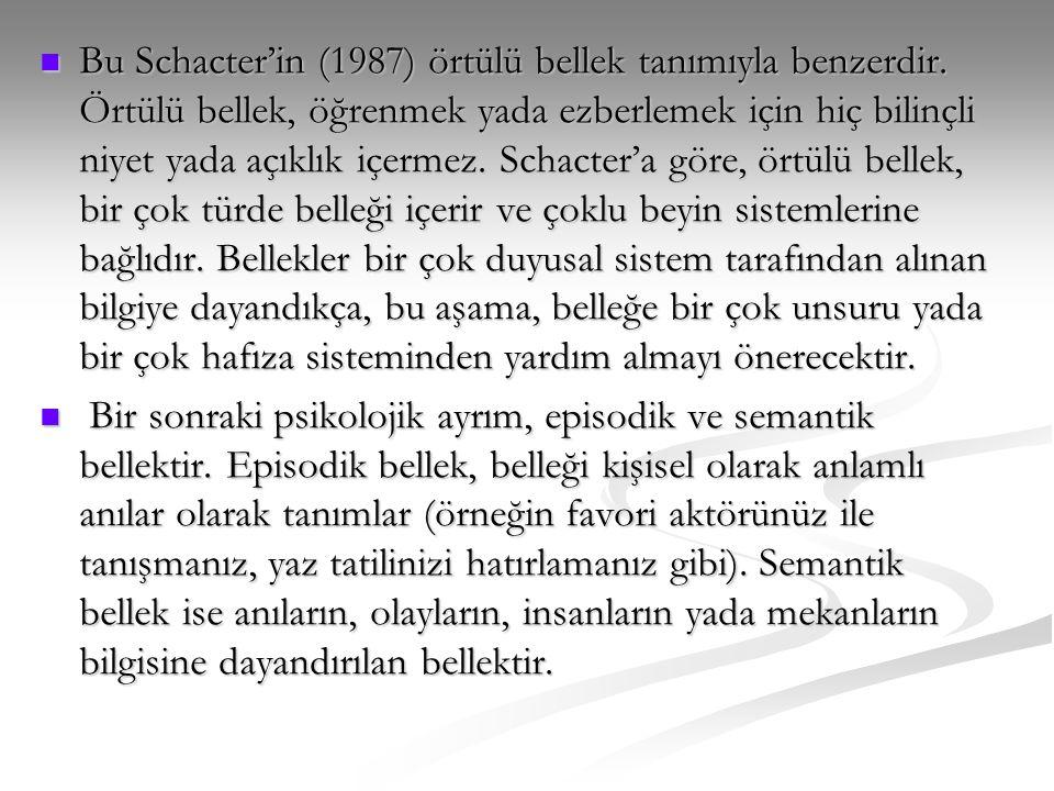  Bu Schacter'in (1987) örtülü bellek tanımıyla benzerdir. Örtülü bellek, öğrenmek yada ezberlemek için hiç bilinçli niyet yada açıklık içermez. Schac