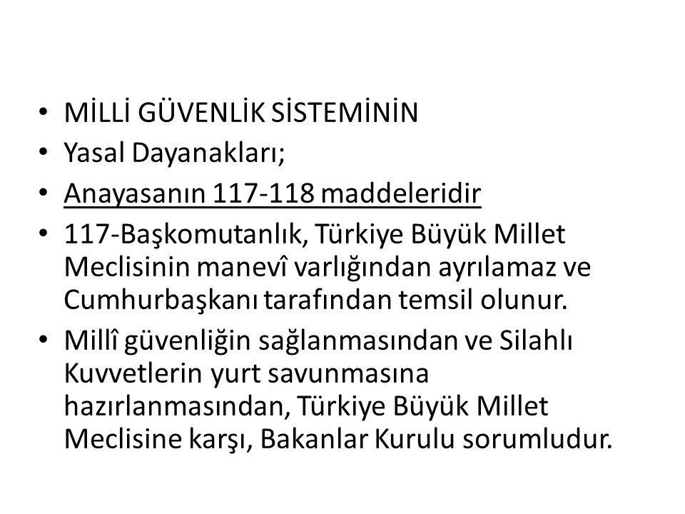 • MİLLİ GÜVENLİK SİSTEMİNİN • Yasal Dayanakları; • Anayasanın 117-118 maddeleridir • 117-Başkomutanlık, Türkiye Büyük Millet Meclisinin manevî varlığı