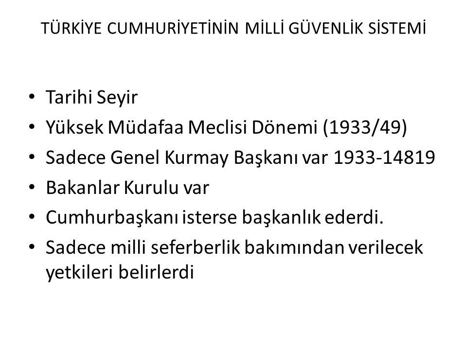 TÜRKİYE CUMHURİYETİNİN MİLLİ GÜVENLİK SİSTEMİ • Tarihi Seyir • Yüksek Müdafaa Meclisi Dönemi (1933/49) • Sadece Genel Kurmay Başkanı var 1933-14819 •