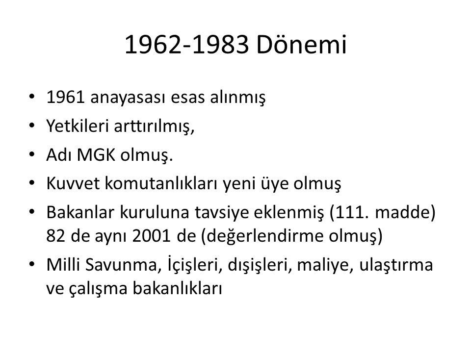 1962-1983 Dönemi • 1961 anayasası esas alınmış • Yetkileri arttırılmış, • Adı MGK olmuş. • Kuvvet komutanlıkları yeni üye olmuş • Bakanlar kuruluna ta