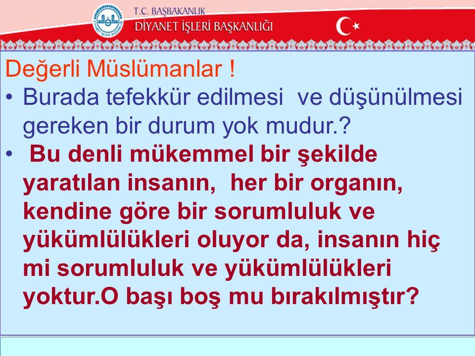 Değerli Müslümanlar .•Burada tefekkür edilmesi ve düşünülmesi gereken bir durum yok mudur..