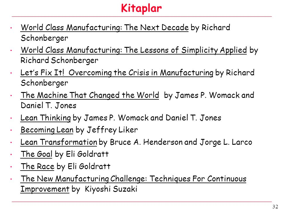 32 • World Class Manufacturing: The Next Decade by Richard Schonberger • World Class Manufacturing: The Lessons of Simplicity Applied by Richard Schonberger • Let's Fix It.