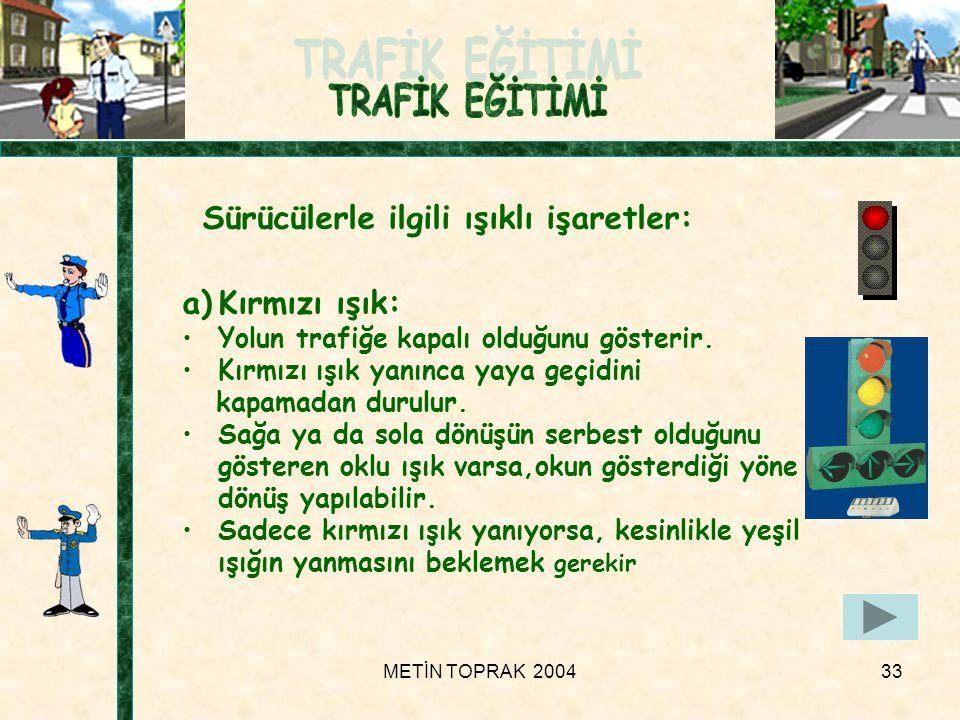 METİN TOPRAK 200433 Sürücülerle ilgili ışıklı işaretler: a)Kırmızı ışık: •Yolun trafiğe kapalı olduğunu gösterir.