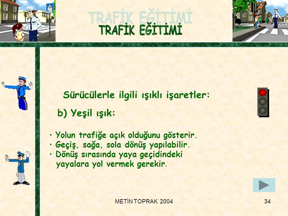 METİN TOPRAK 200434 b) Yeşil ışık: • Yolun trafiğe açık olduğunu gösterir.
